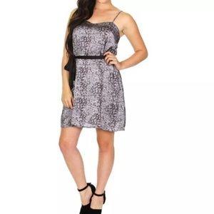 NAKED ZEBRA Satin Tea Mini Dress Animal Print S